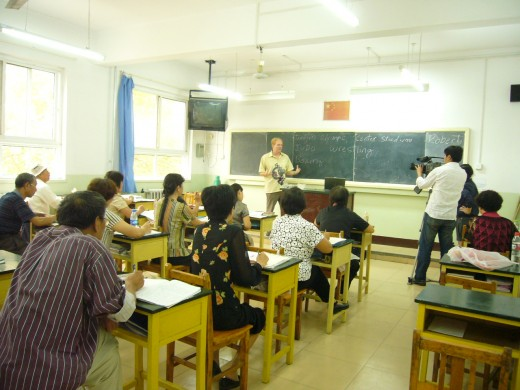Robert doing some guest teaching to an Adult English class for the Olympics