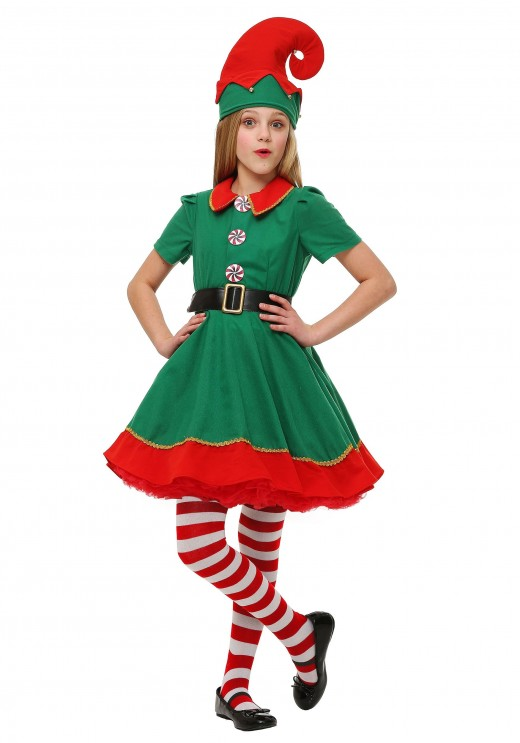 You can find this girl's elf costume at HalloweenCostumes.com