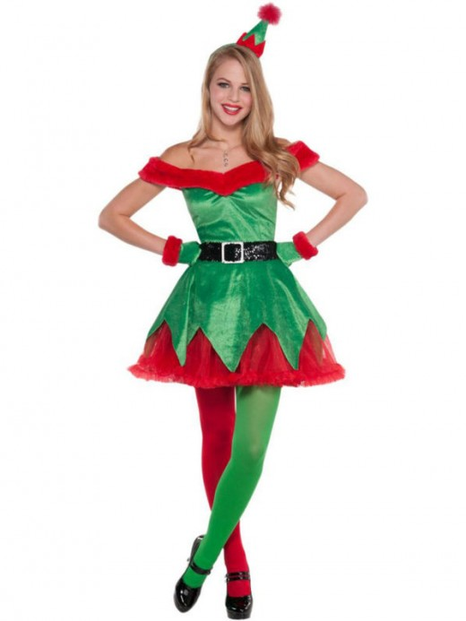 This costume is a bit sexier than Jovie's...it comes with the dress and headband, the gloves, and the belt.