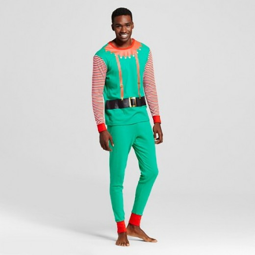 Target has these great Elf pajamas in men's, women's, and kid sizes...these would make a good costume.