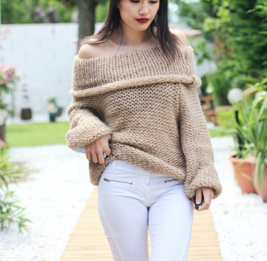 Off-Shoulder Woolen Top