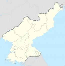 Location of Panmunjom on the Korean peninsula.