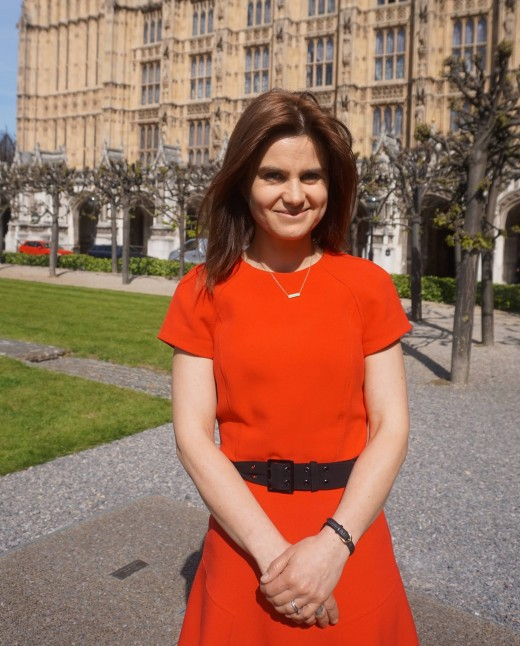 Jo Cox stood outside of Parliament