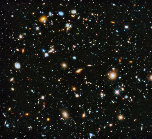 The Hubble Ultra-Deep Field (HUDF) is an image of a small region of space in the constellation Fornax, containing an estimated 10,000 galaxies.