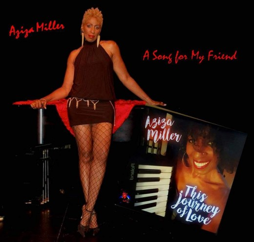 Aziza showing off the GAMS in this promotional  poster by Keith Gilchrist for the special tribute song she wrote remembering the beautiful times with Natalie Cole, 'A Song for My Friend'.