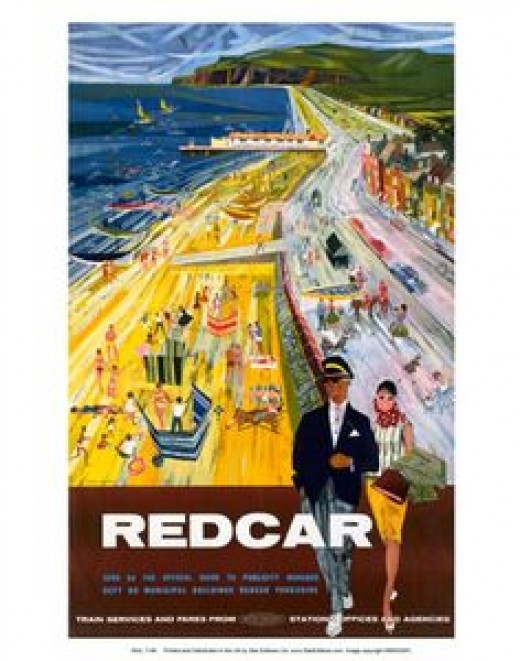 1950s poster shows Redcar in a different light, suave, sophisticated... Nightlife went with the steel works, sorry.