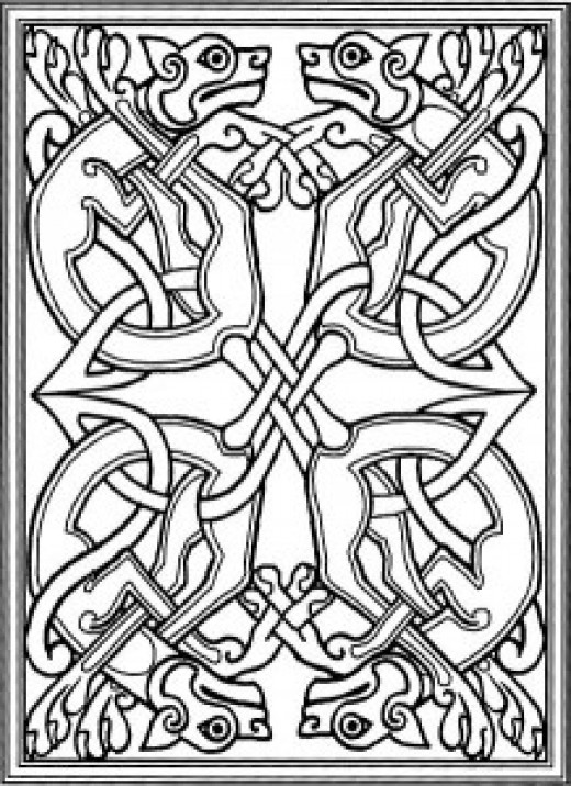A couple of examples of Celtic knot-work (here and below) that found an echo in 10th/11th Century Scandinavian styles from Denmark and Norway