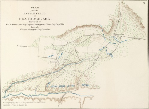 Battle map of the battle for Pea Ridge
