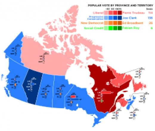 The elective map of the 1979 federal election.