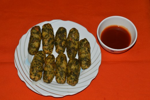 Potato and spinach kebabs