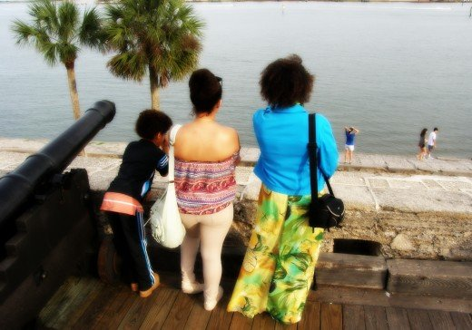 The author and two of her children, on top of the Castillo de San Marcos in St. Augustine, Florida.