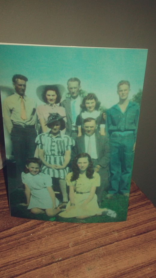 Picture taken about 1938.  My father is standing in the back left with grandma, grandpa, and my aunts and uncles.
