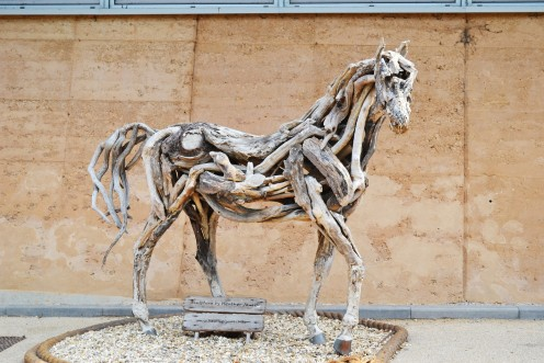 Driftwood sculpture of a horse by Heather Jansch.