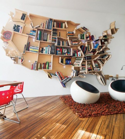 United States map bookcase