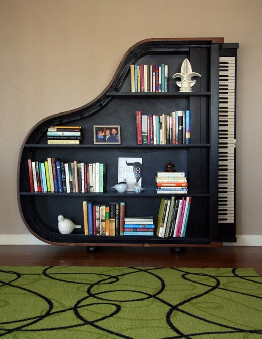 Repurposed piano bookcase
