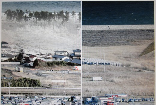 Natori city in Miyagi prefecture is seen being engulfed by a huge wave as the tsunami hits on 11 March 2011. The same area is seen on 18 February 2016. (Kyodo/Reuters)