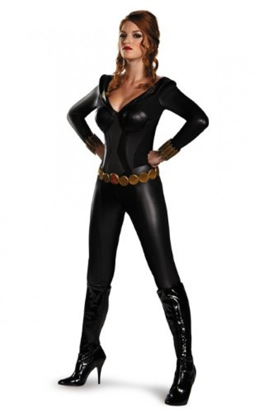 The cost for this black jumpsuit is about 13.00 - the perfect price for a Halloween costume!
