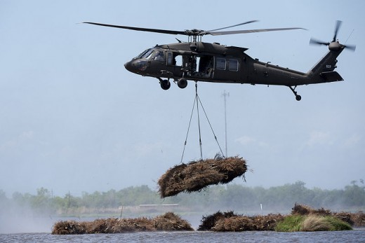 A Louisiana National Guard UH-60 Black Hawk helicopter lowers recycled Christmas trees into Louisiana's Bayou Sauvage during the annual Christmas Tree Drop.