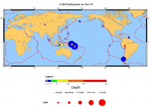 5.8M or larger seismic events for the months of October-December 2016, courtesy IRIS and GCMT.