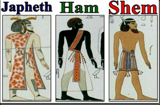 Ancient depictions of Shemites, Hamites, and Japhites.