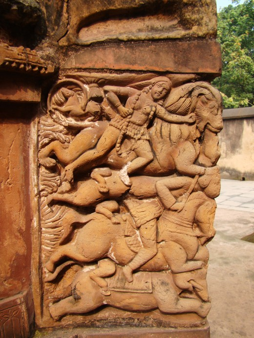 'Mrityulata' panel 3; from Lalji temple showing Goddess Kali; Kalna, Bardhaman district