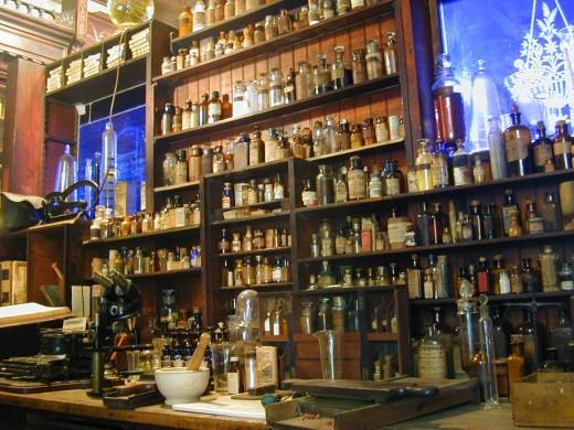 Shelves in the Pharmacy Museum