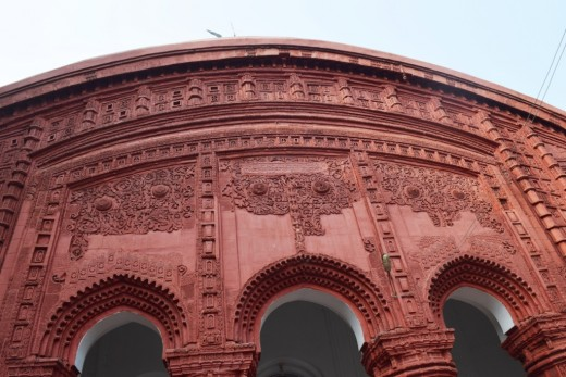 Terracotta decorations on the front facade of Nandadulal Jiu temple, Gurap