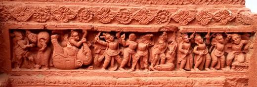 The Slaying of Kangsha : Nandadulal Jiu temple, Gurap