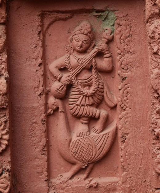 Goddess Saraswati : wall panel, Nandadulal Jiu temple , Gurap