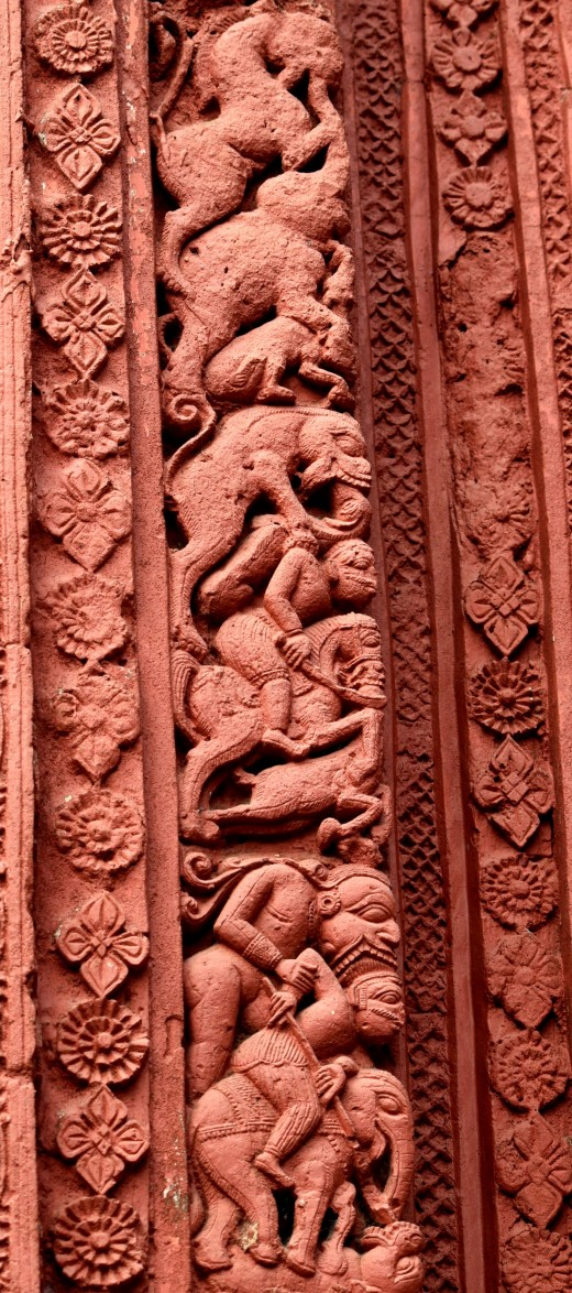 'Barshaa' panel showng the violent figures : Nandadulal Jiu temple, Gurap