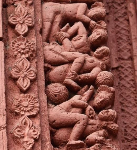 'Barshaa' panel showing erotic figures, Nandadulal Jiu temple, Gurap