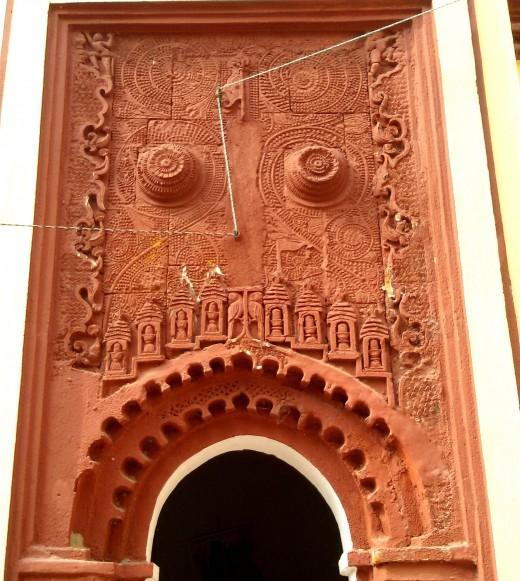 Front facade of the 'Dol Mancha' : Nandadulal Jiu temple, Gurap
