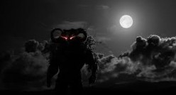 Extremely tall (10-12 feet) shadow creatures with red eyes inhabit Zardia along with giant dog-like beasts with huge teeth and fiery red eyes.