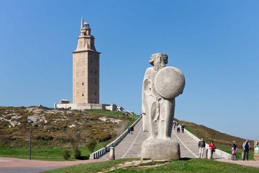 Statue of King Breogan in Galicia, Spain