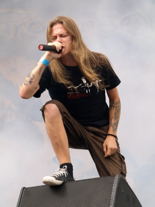 Finnish vocalist Jules Naveri sings for the band called Profane Omen in 2011.