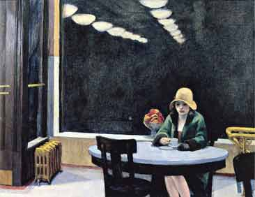 Everyone defines loneliness differently: for some it means life without a special person and for others it means something else. This painting is brilliant because one can say it's just a lady at a table alone and another can say she's lonely.