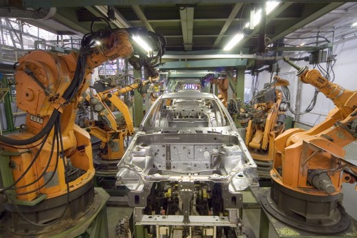 Industrial robot being used on a car manufacturing line