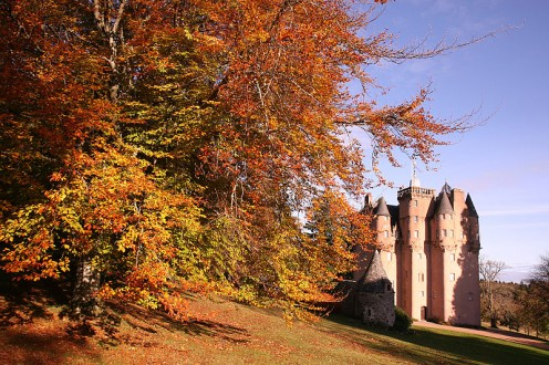 Autumn leaf color at Craigievar Castle, Aberdeenshire, Scotland, UK
