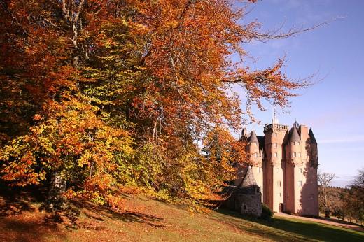 Autumn leaf color at Craigievar Castle, Aberdeenshire, Scotland, UK