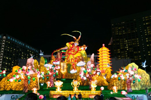 Immense and elaborate lanterns during River Hongbao. This one features the popular Monkey God from Journey to the West.