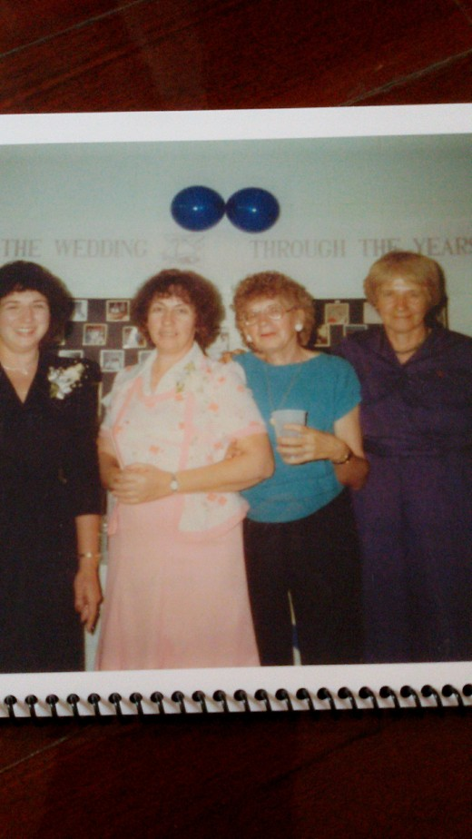 From left to right: Aunts Mary, Donna, Sissie, and my mother.  Picture taken in 1988.