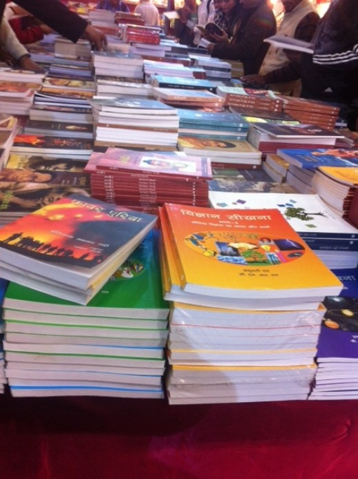 The beautiful sight of crisp paper books at the World book fair 2017, Delhi