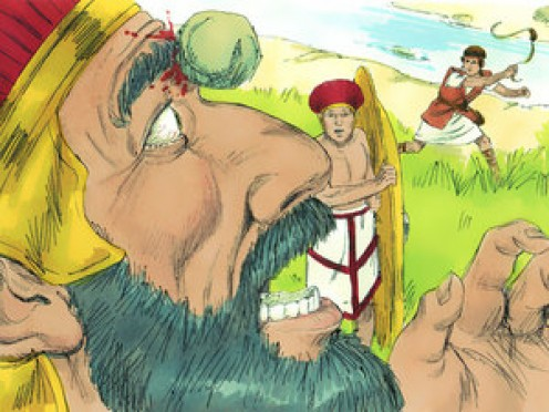 David killed Goliath by throwing a water balloon? A squirt gun? A sling and a smooth stone?