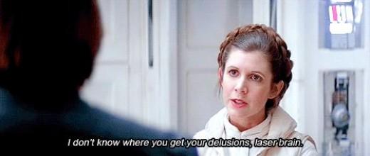 Leia showing her true feelings to Han Solo