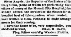 Civil War newspaper article about Mother Angela (Gillespie) CSC and Sisters of the Holy Cross.