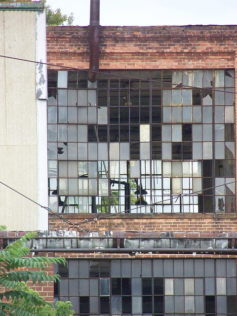 An empty Rust Belt factory.