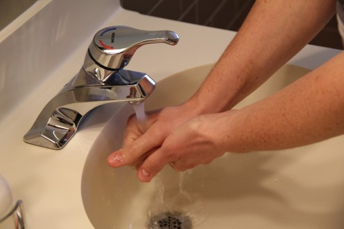 Simple handwashing with plain soap and water is adequate for non-hospital purposes