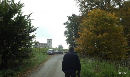 Approaching Fawsley Church