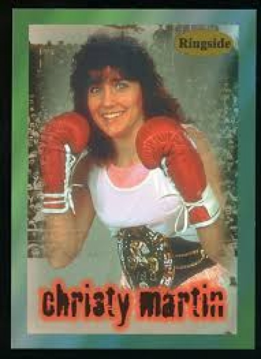 Former champion Christy Martin is seen on a Ringside boxing card.