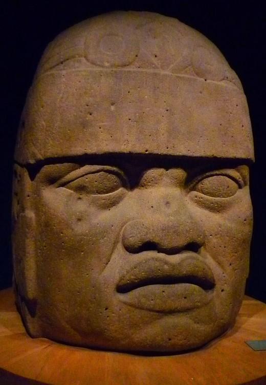 San Lorenzo Monumental Head 6. Monumental head from the Olmec civilization exhibited at the Museo Nacinal de Antropología e Historia, Mexico